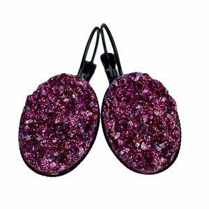 3/$20⚡️Magenta Glitter Faux Druzy earrings